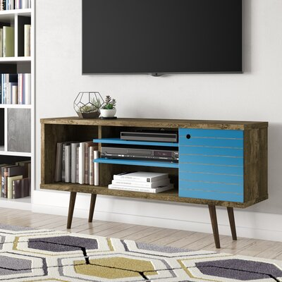 Lewis Mid Century Modern 53 TV Stand with 5 Shelves and 1 Door Color: Rustic Brown/Aqua Blue