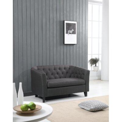 Isaias Chesterfield Loveseat Upholstery: Dark Gray