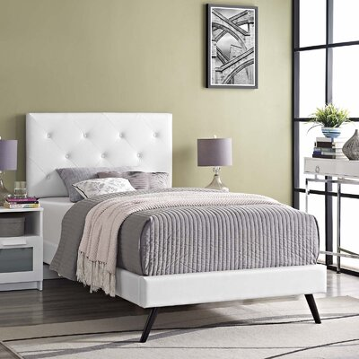 Perrinton�Upholstered Platform Bed Color: White, Size: Twin