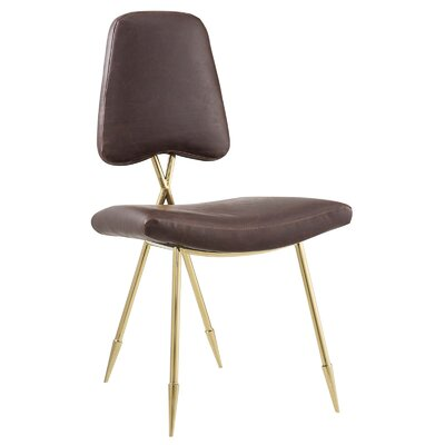 Haller Side Chair Upholstery: Brown