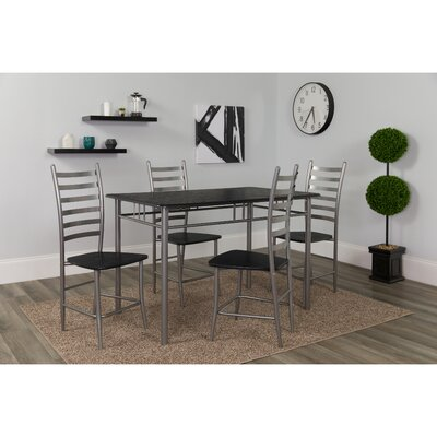 Millers Manhattan 5 Piece Dining Set Color: Black/Wood Grain