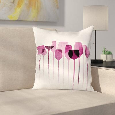 Wine Artwork Party Glasses Square Pillow Cover Size: 16 x 16