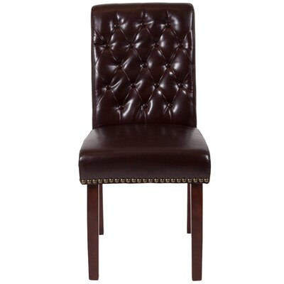 Fransen Upholstered Dining Chair Upholstery Color: Brown
