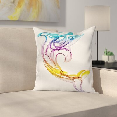 Abstract Art Aquatic Dolphin Square Pillow Cover Size: 24