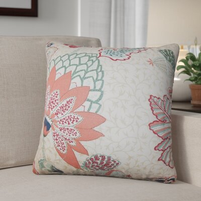 Tiara Floral Cotton Throw Pillow Color: Mint Red