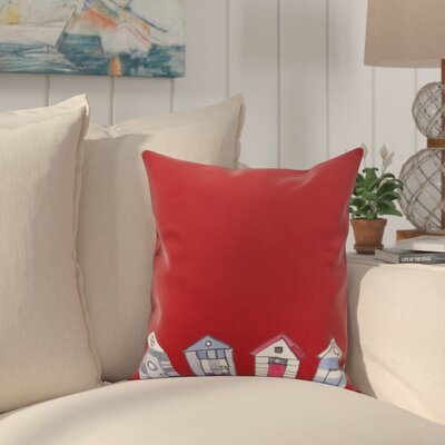 Crider Beach Huts Geometric Print Indoor/Outdoor Throw Pillow Color: Red, Size: 18 x 18
