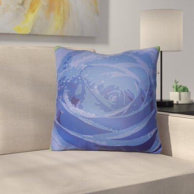 Virgil Flower Throw Pillow Size: 20 H x 20 W x 4 D, Color: Blue