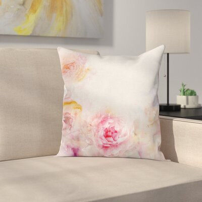 Light Roses Square Pillow Cover Size: 18 x 18