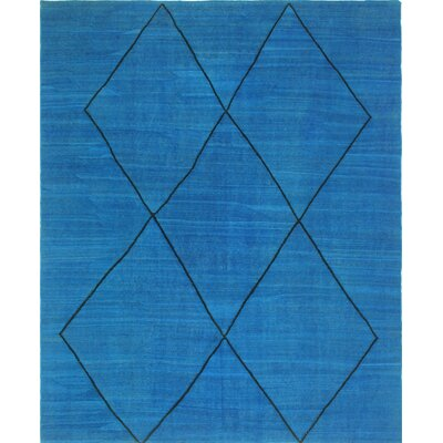 One-of-a-Kind Kwon Hand-Woven Wool Blue Area Rug