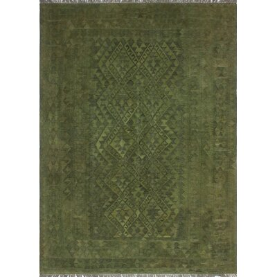 One-of-a-Kind Keels Hand-Woven Wool Green Area Rug