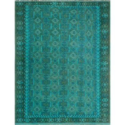 One-of-a-Kind Dinardo Hand-Woven Wool Teal Blue Area Rug