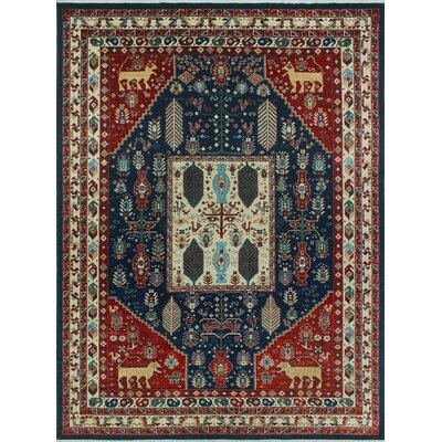 One-of-a-Kind Keel Hand-Knotted Wool Blue/Red Area Rug