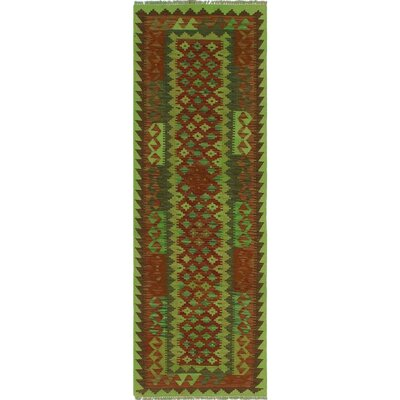 One-of-a-Kind Rauscher Hand-Woven Wool Green/Red Area Rug