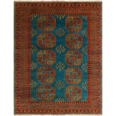 One-of-a-Kind Kappel Hand-Knotted Wool Green/Red Area Rug
