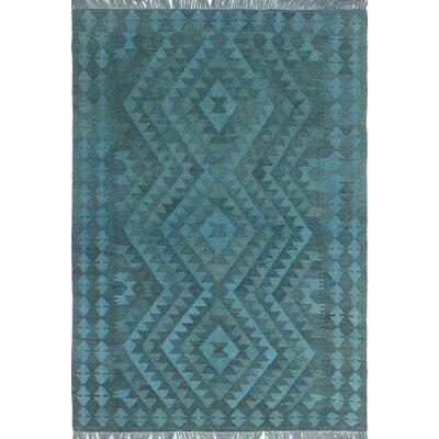 One-of-a-Kind Dinardo Hand-Woven Wool Blue Area Rug