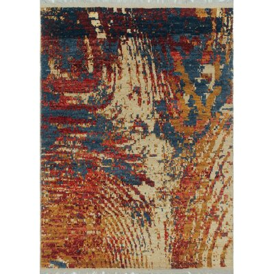 One-of-a-Kind Kwiatkowski Hand-Knotted Wool Ivory/Orange/Blue Area Rug