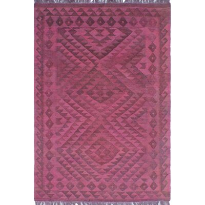 One-of-a-Kind Dinardo Hand-Woven Wool Magenta Area Rug