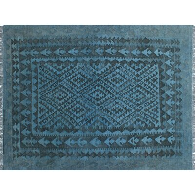 One-of-a-Kind Dinardo Hand-Woven Wool Blue Area Rug