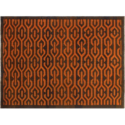 One-of-a-Kind Kwon Hand-Woven Wool Orange Area Rug