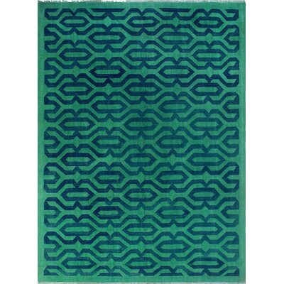 One-of-a-Kind Kwon Hand-Woven Wool Green/Blue Area Rug