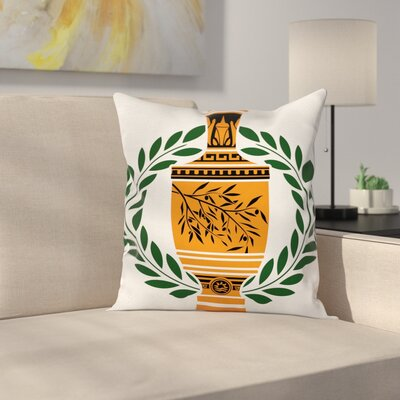 Greek Vase Laurel Square Cushion Pillow Cover Size: 18 x 18