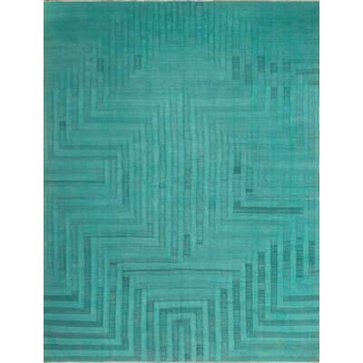 One-of-a-Kind Kwon Hand-Woven Wool Teal Green Area Rug