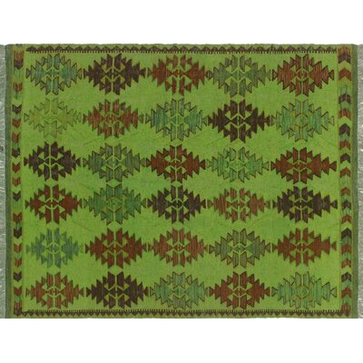 One-of-a-Kind Rauscher Hand-Woven Wool Green Area Rug