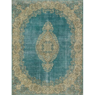 One-of-a-Kind Kappel Distressed Hand-Knotted Wool Blue/Beige Area Rug