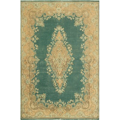 One-of-a-Kind Kappel Distressed Hand-Knotted Wool Teal/Beige Area Rug