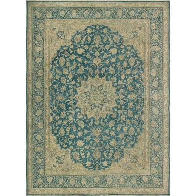 One-of-a-Kind Kappel Distressed Hand-Knotted Wool Blue Area Rug