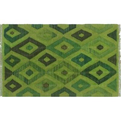 One-of-a-Kind Kwon Hand-Woven Wool Green Area Rug
