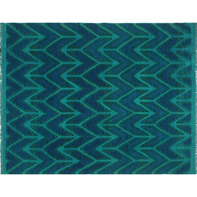 One-of-a-Kind Kwon Hand-Woven Wool Teal/Blue Area Rug