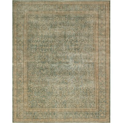 One-of-a-Kind Kappel Distressed Hand-Knotted Wool Green/Beige Area Rug