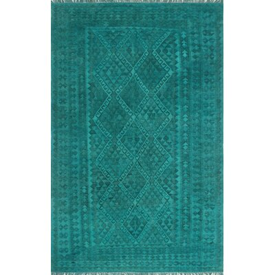 One-of-a-Kind Dinardo Hand-Woven Wool Teal Green Area Rug