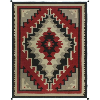 One-of-a-Kind Priston Hand-Woven Wool Red/Black/Beige Area Rug