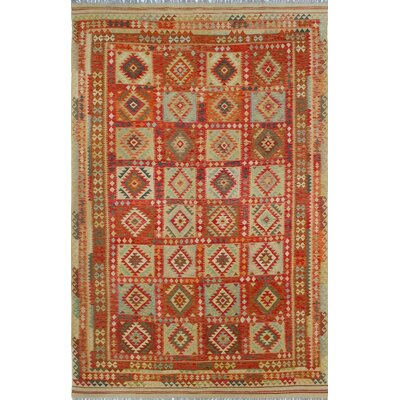 One-of-a-Kind Priston Hand-Woven Wool Gold/Red Area Rug