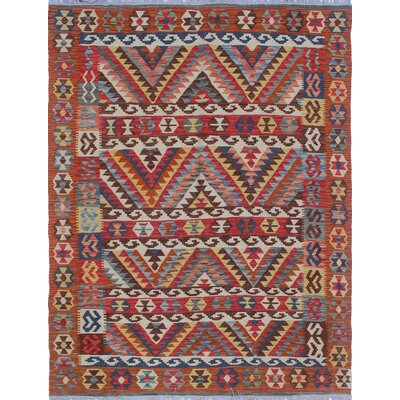 One-of-a-Kind Mixon Hand-Woven Wool Rust Area Rug