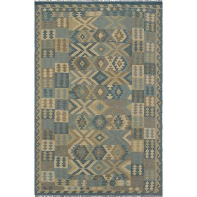 One-of-a-Kind Priston Hand-Woven Wool Beige/Blue Area Rug