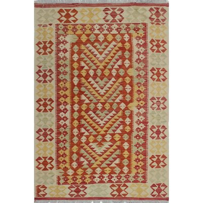 One-of-a-Kind Priston Hand-Woven Wool Beige/Red Area Rug