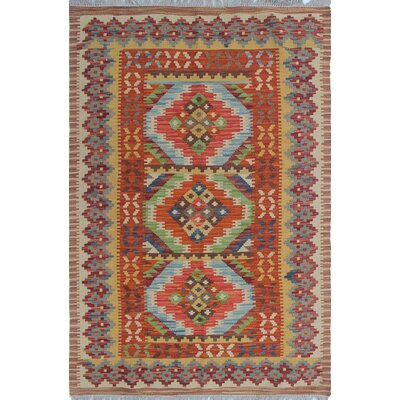 One-of-a-Kind Priston Hand-Woven Wool Red/Beige Area Rug