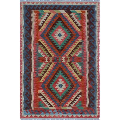 One-of-a-Kind Priston Hand-Woven Wool Red/Blue Area Rug