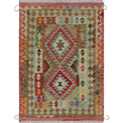 One-of-a-Kind Priston Hand-Woven Wool Red/Green Area Rug