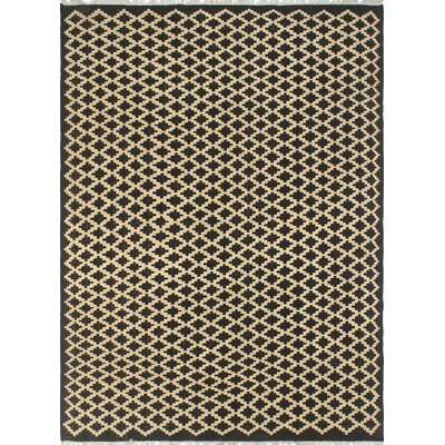 One-of-a-Kind Coleg Hand-Woven Wool Black/Beige Area Rug