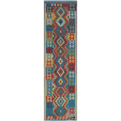 One-of-a-Kind Priston Hand-Woven Wool Rust/Blue Area Rug