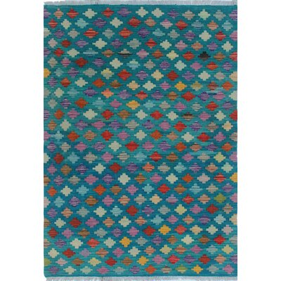 One-of-a-Kind Dinapoli Hand-Woven Wool Teal Area Rug