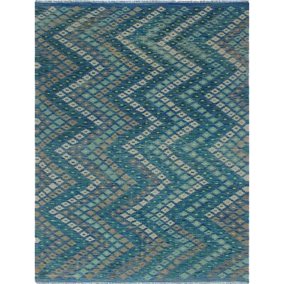 One-of-a-Kind Priston and-Woven Wool Blue Area Rug