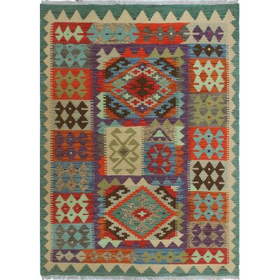 One-of-a-Kind Priston Hand-Woven Wool Green/Red Area Rug