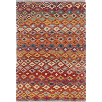One-of-a-Kind Priston Hand-Woven Wool Orange/Brown Area Rug