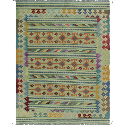 One-of-a-Kind Priston Hand-Woven Wool Green/Beige Area Rug