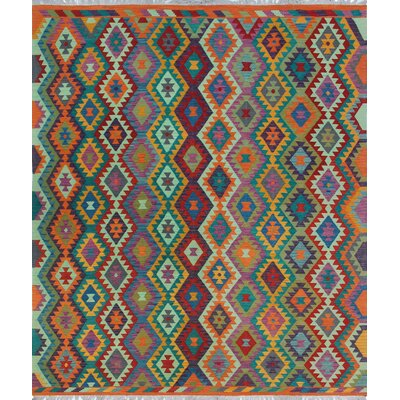 One-of-a-Kind Priston Hand-Woven Wool Orange/Green Area Rug